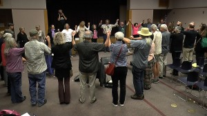Circling up in San Luis Obispo to shut down Diablo - 2015. Photo: John Bertucci/EON