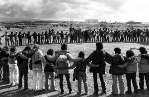 Diablo Canyon protesters circle up in 1981. Photo: Jessica Collett