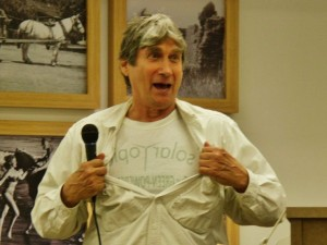 "Harvey Wasserman, who originally coined the term ""No Nukes"" back in the early '70s, and is an author, activist and journalist, jokes about his latest book, ""Solartopia!"" as he kicks off the latest speaker series of the Malibu Democratic Club. Photo: Malibu Times"