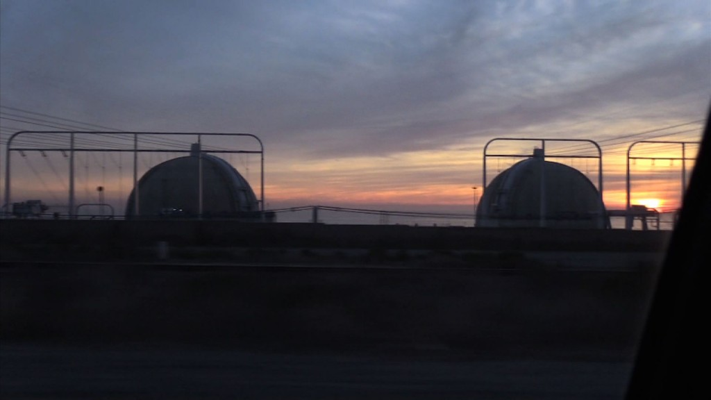 San Onofre nuclear reactors between San Diego and L.A.  were shuttered in 2013.  Now the question is: What to do with 3,600,000 pounds of accumulated nuclear waste being stored on-site in a tsunami zone?  Photo: EON