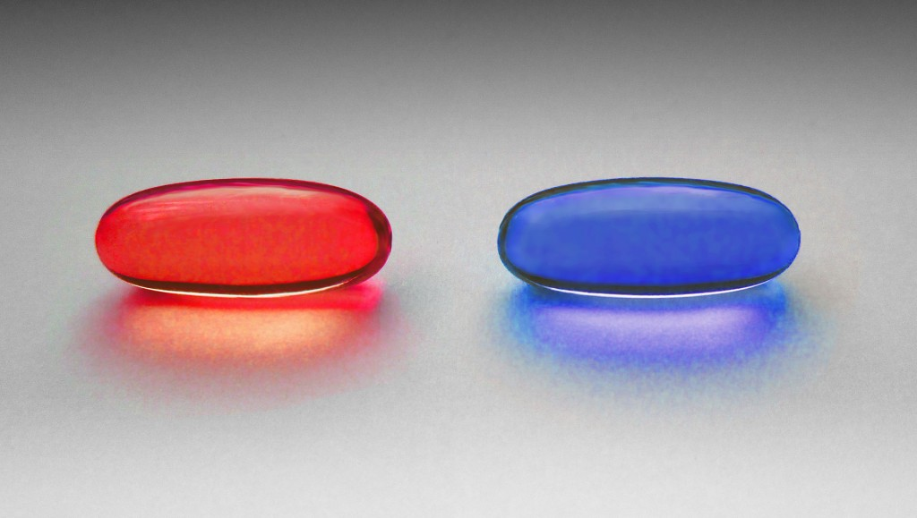 """""""Redpills are people who have chosen to face reality, while bluepills remain living in ignorance of the truth, whether by choice or because they have not had a choice."""" https://en.wikipedia.org/wiki/Red_pill_and_blue_pill"""