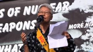 Chizu Hamada speaks at Livermore protest.