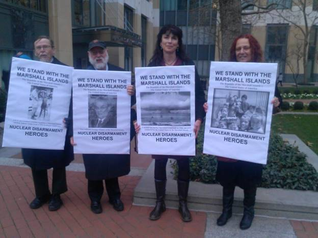 Jacqueline Cabasso Executive Director, Western States Legal Foundation with other campaigners at The Hague.