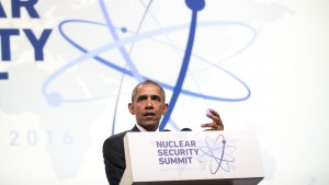 President Obama speaks at the recent White House Nuclear Security Summit.